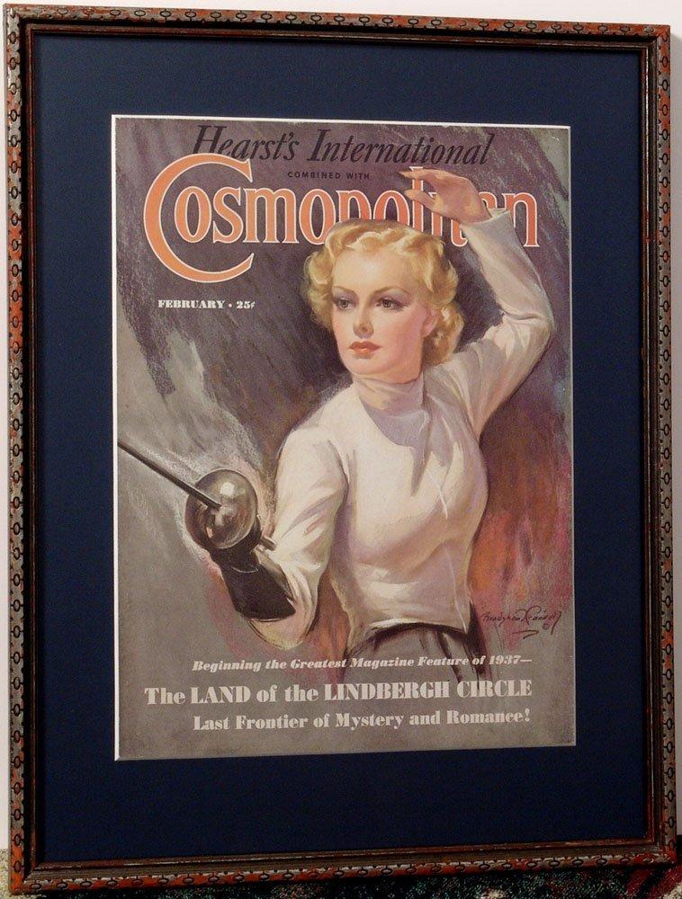 Framed Vtg 1937 BRADSHAW CRANDELL Print Fencing Blonde