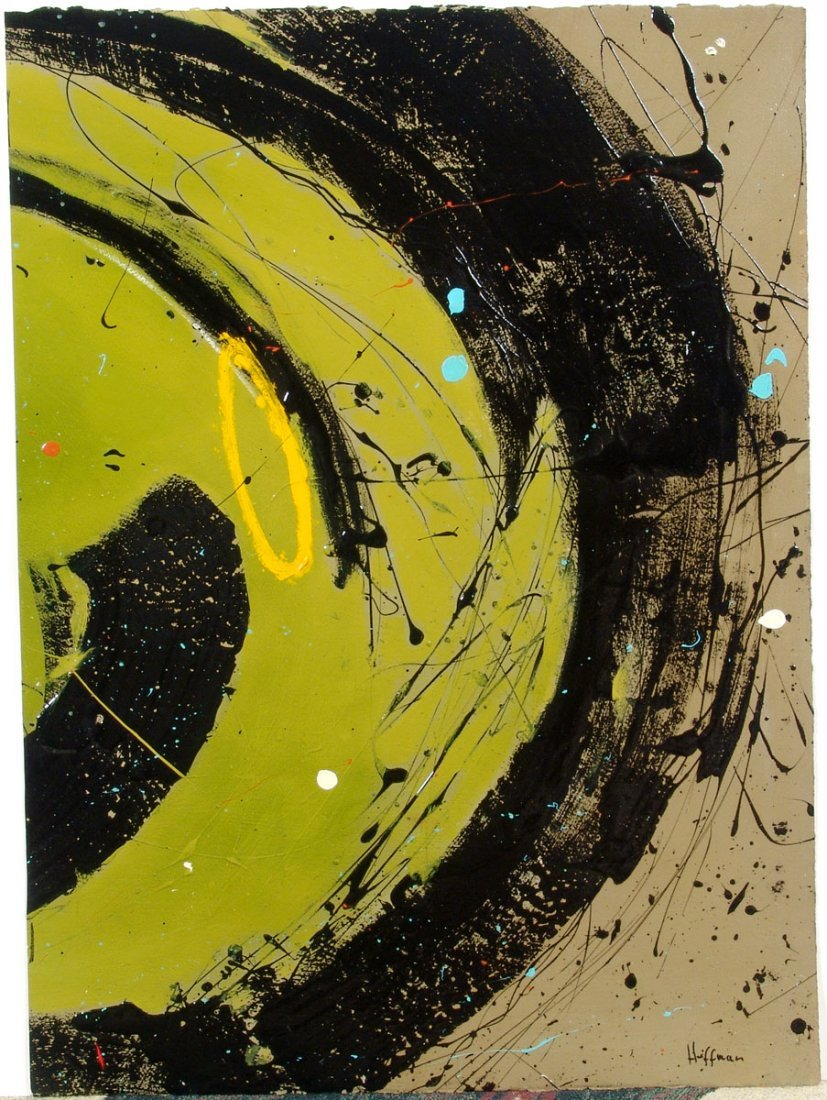 Original Painting Acid Green Modern Abstract by HOFFMAN