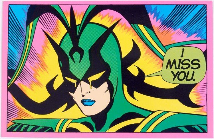 1971 Marvel Comics Superhero Glow Greeting Card HELA