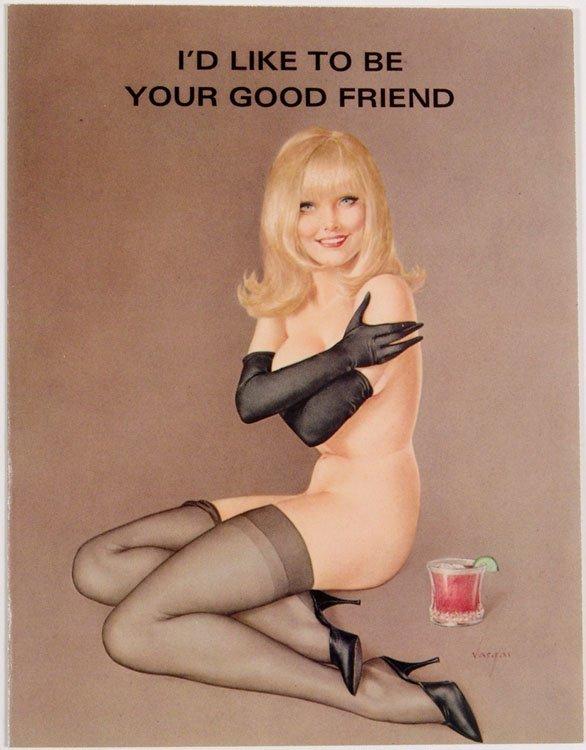 Vtg 1971 VARGAS Greeting Card NUDE BLONDE BOSOM BUDDY