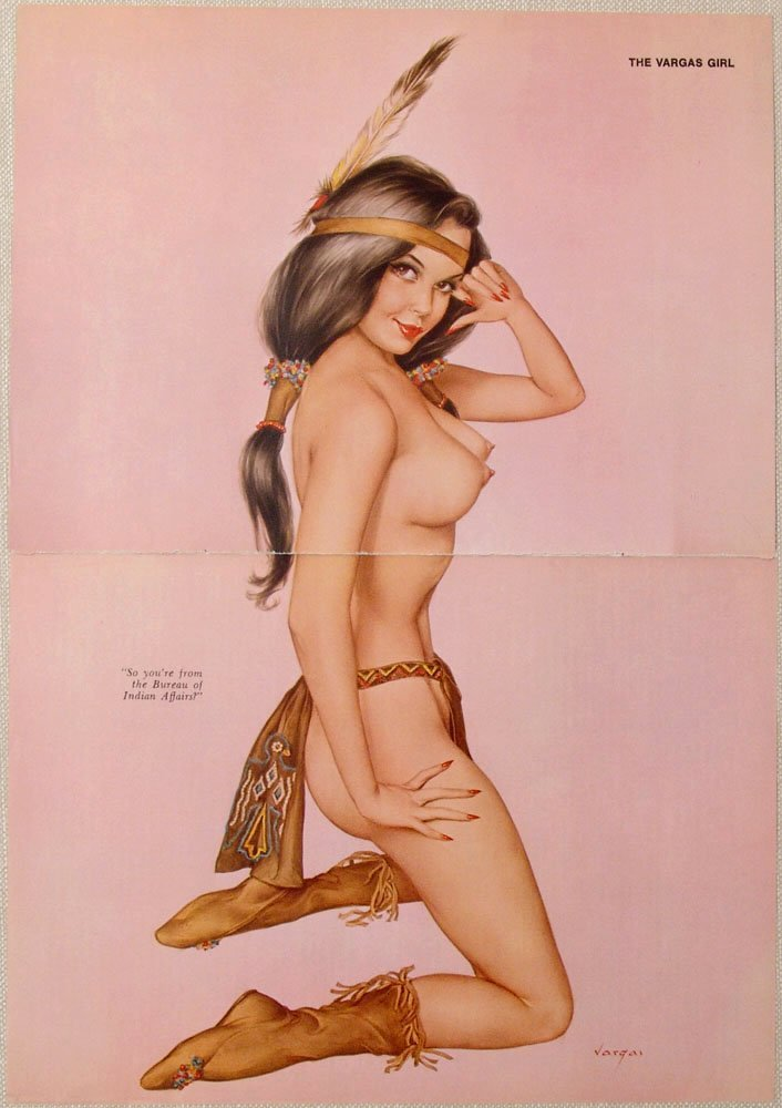 Old VARGAS Pin-Up Nude Native Princess INDIAN AFFAIRS