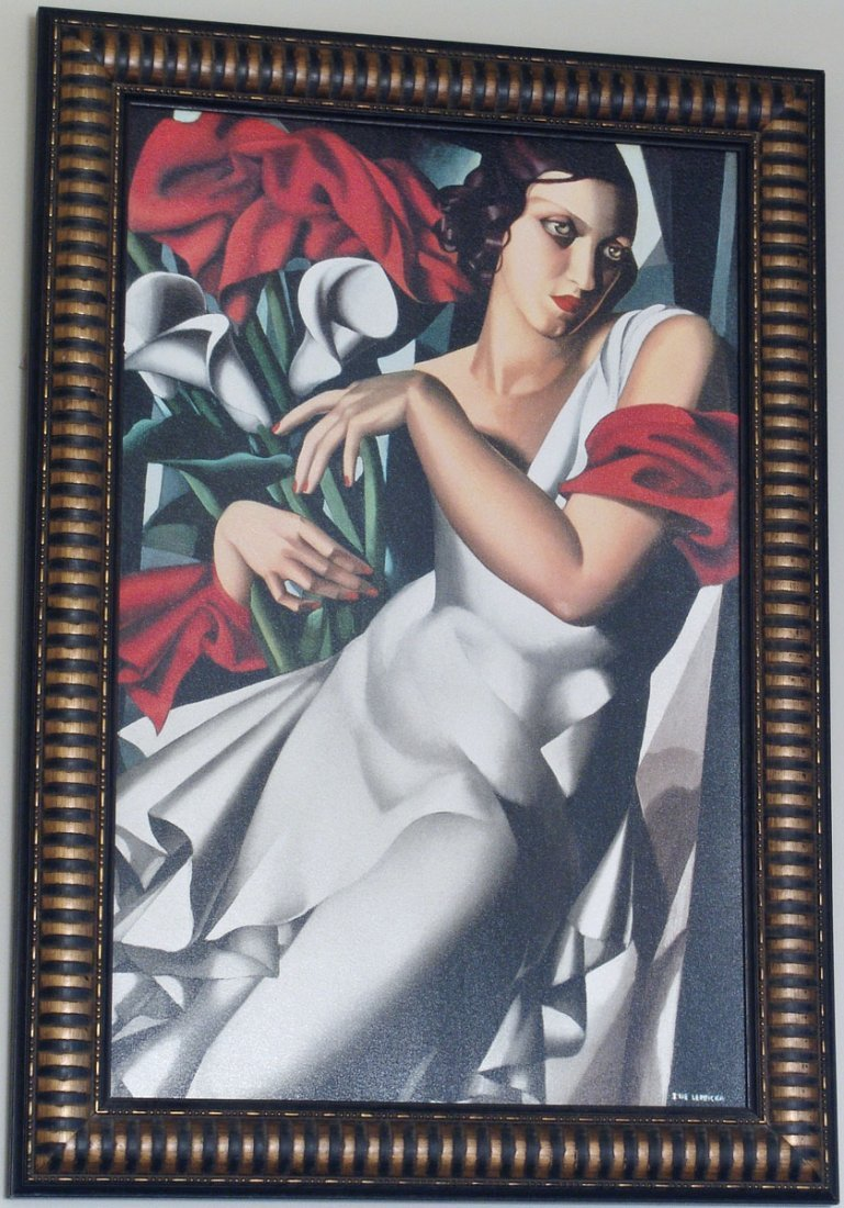 Very Large & Deco Framed Giclee by TAMARA DE LEMPICKA