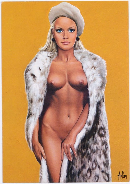 Vintage 1969 ASLAN Nude Blonde Pin-Up Postcard - France