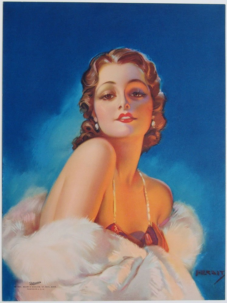 Scarce 1932 Pin-Up ERBIT Glamorous Deco Starlet in Fur
