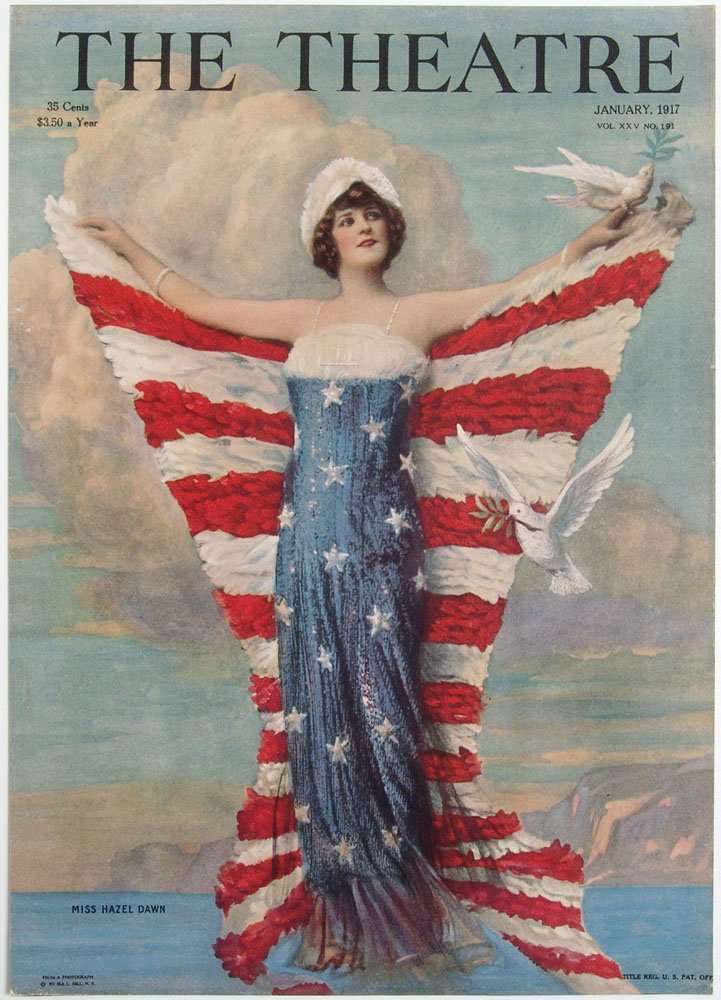 1917 Cover THE THEATRE Stunning Patriotic Flag Imagery