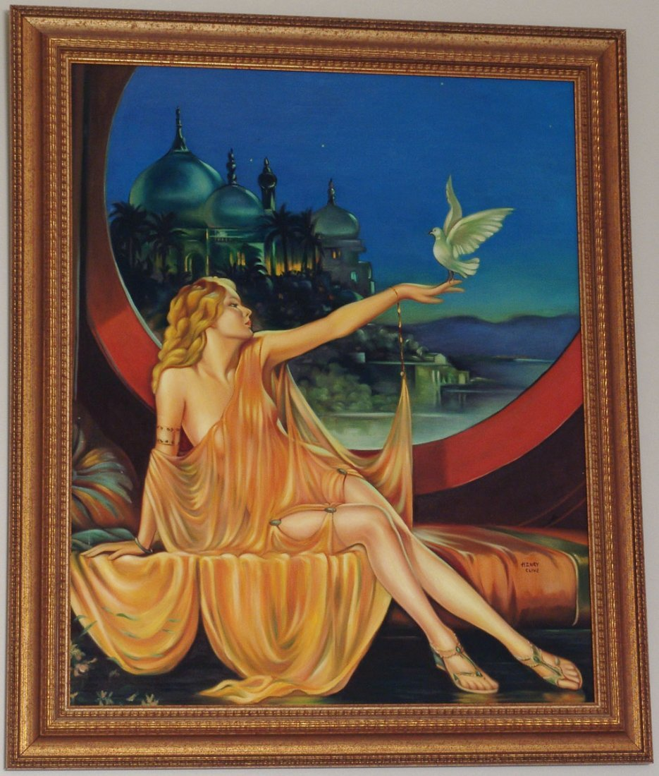 LG Framed Orig Oil Painting Based on SULTANA by CLIVE