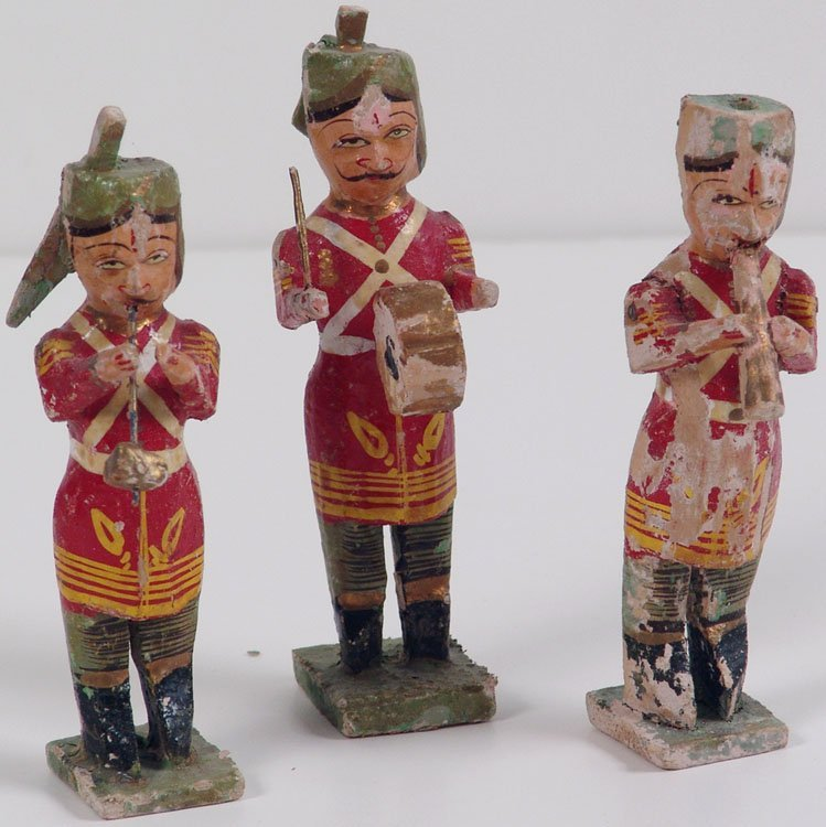 Antique c1850s Hand Carved Musician Figures - India