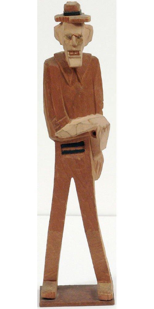 Old 1940s Wood Carving GANGSTER/MOBSTER Folk Art