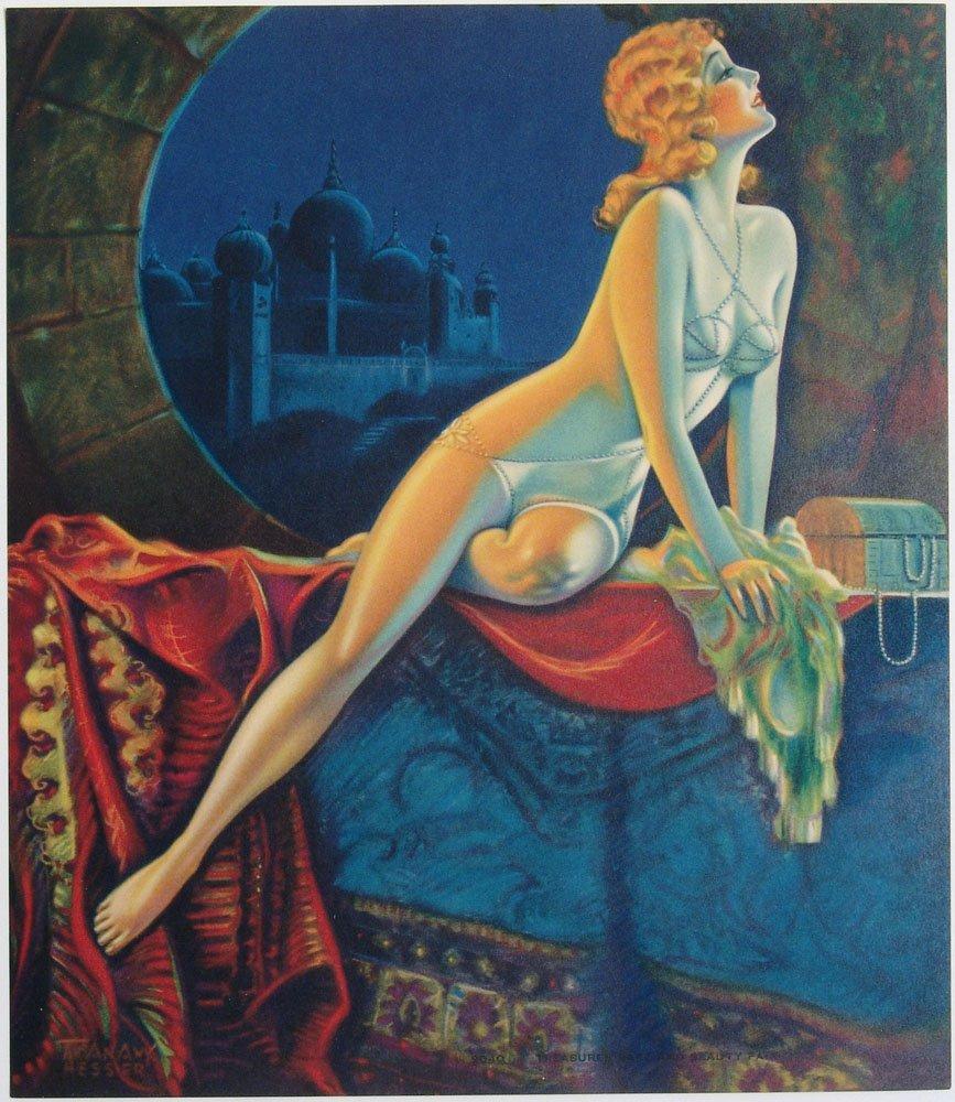 RARE 1920s Risque Pin-Up T. ANAW HESSER Persian Night