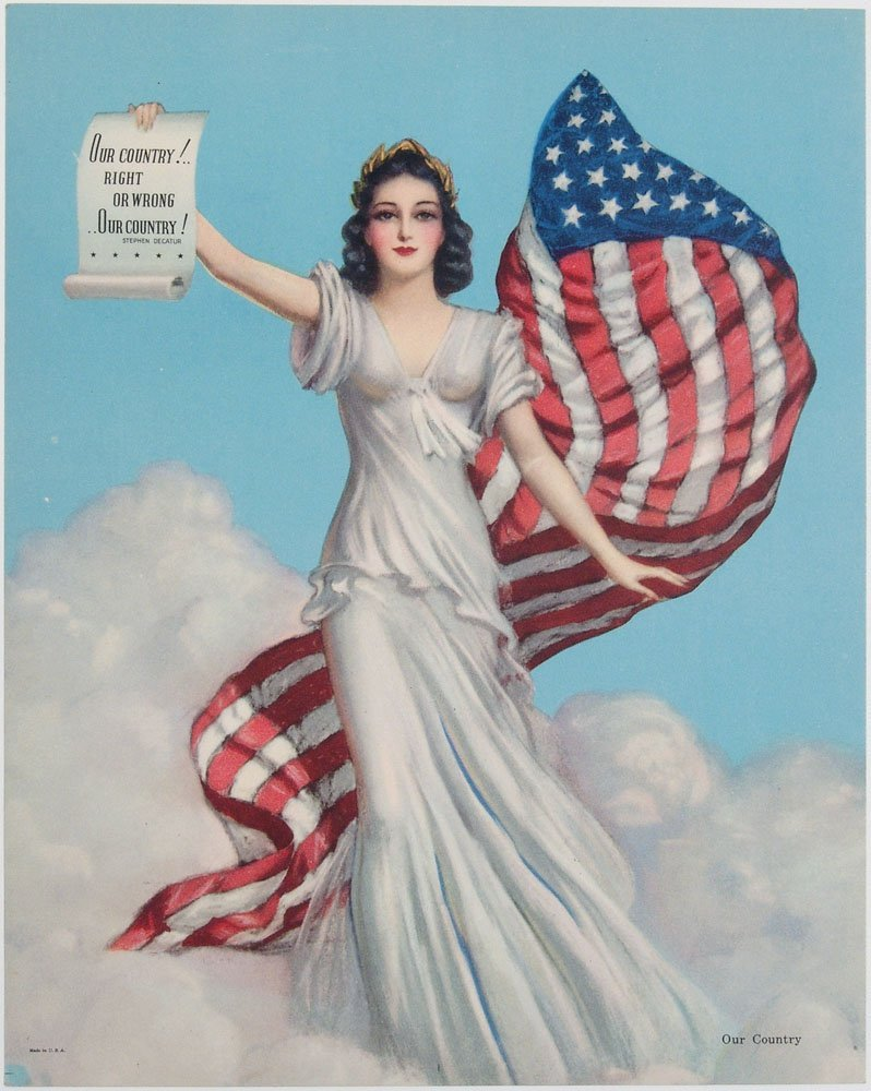 WWI-Era Print OUR COUNTRY Great Lady Liberty Flag Image