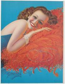Rare 1940s Pin-Up DEVORSS Radiant Redhead on Feathers