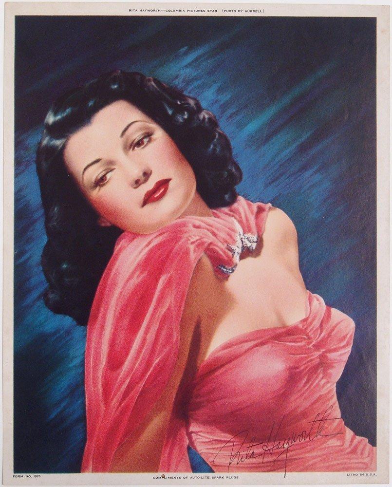 Vintage 1940s Signed Pin-Up Print of Sexy Rita Hayworth