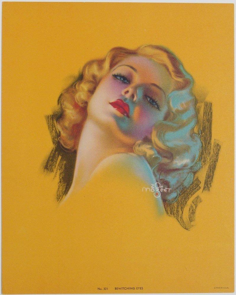 Old Deco Glamorous Girl Pin-Up MOZERT Bewitching Eyes