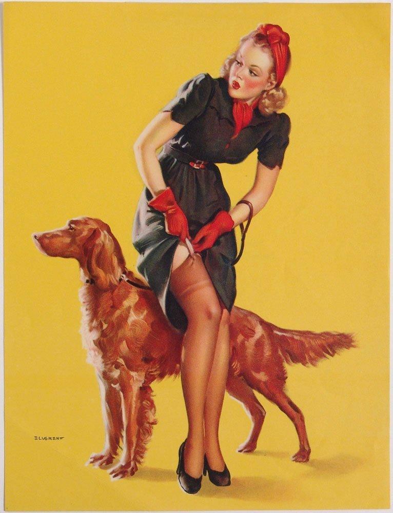 Vintage 1940 Pin-Up ELVGREN Dress Snagged on Garter