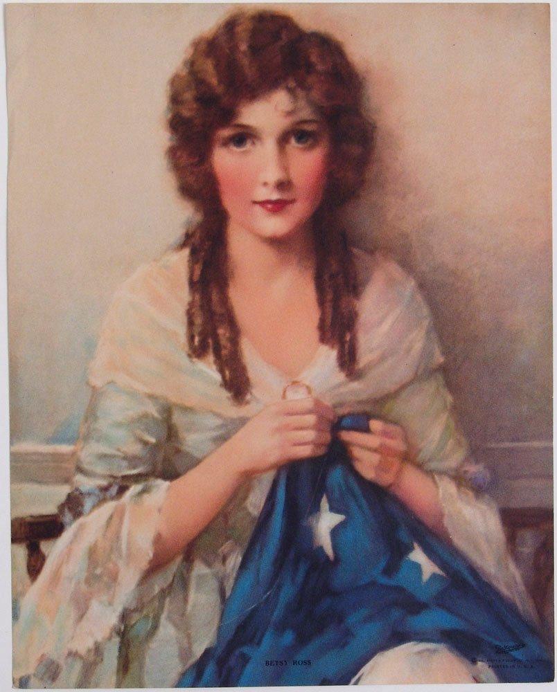 Vintage 1930 Print J K HARE Betsy Ross w/ American Flag