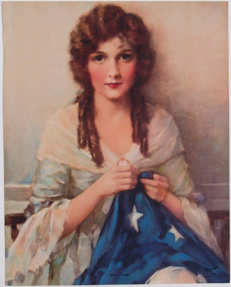 Vintage 1930 Print J K HARE Betsy Ross w/ American Flag