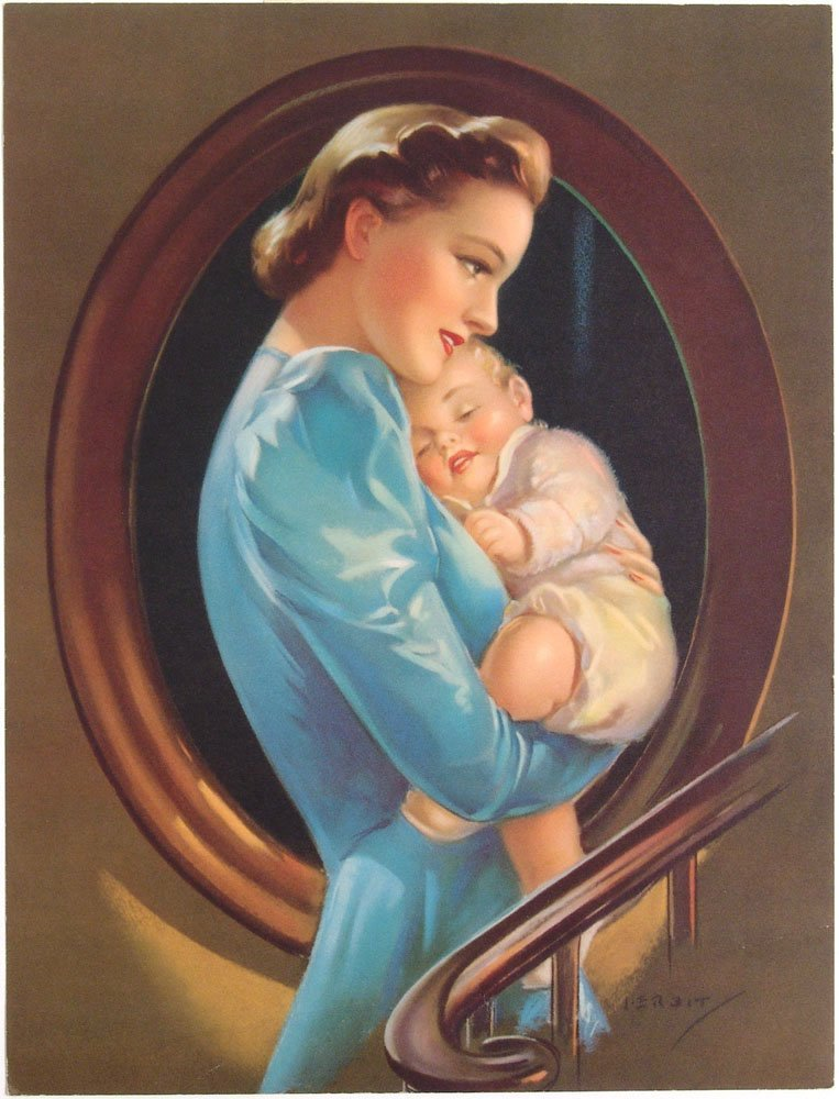 Vintage 1930s Print ERBIT Mother & Baby SHELTERING ARMS