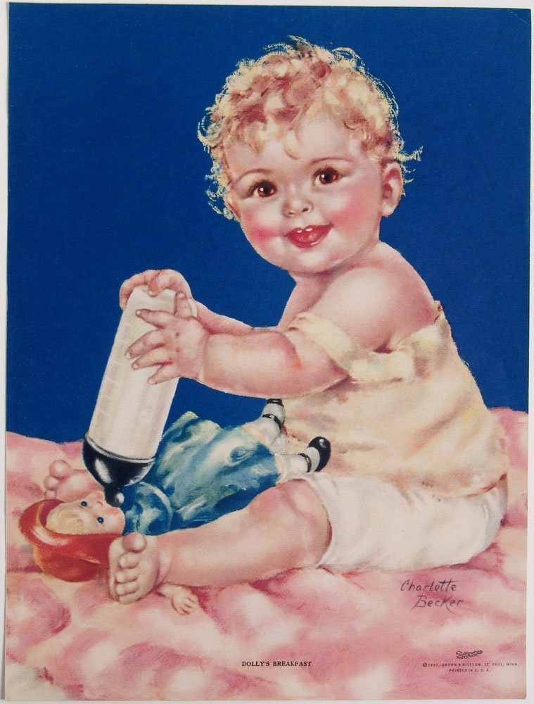 Vintage 1931 Print CHARLOTTE BECKER Dolly's Breakfast