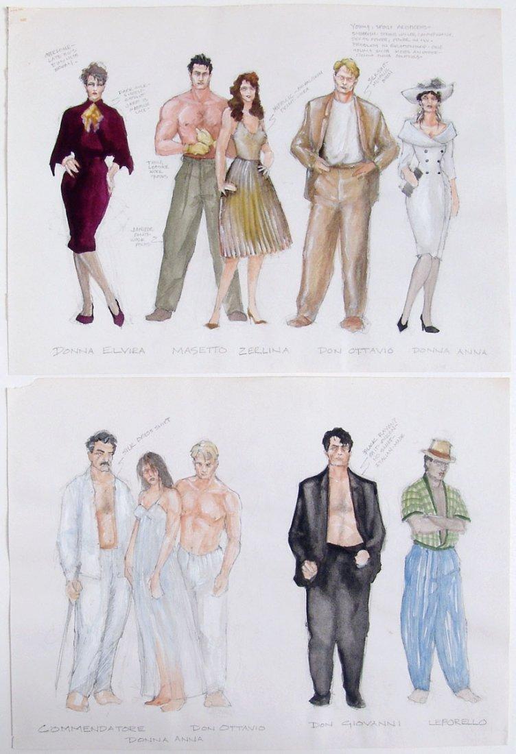 8 Original Theatre Costume & Set Paintings DON GIOVANNI