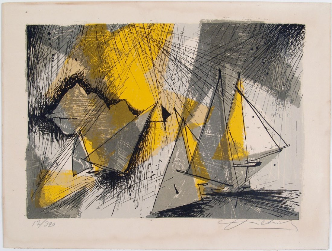 Vintage 1960s Signed/Numbered Print STYLIZED SAILBOATS