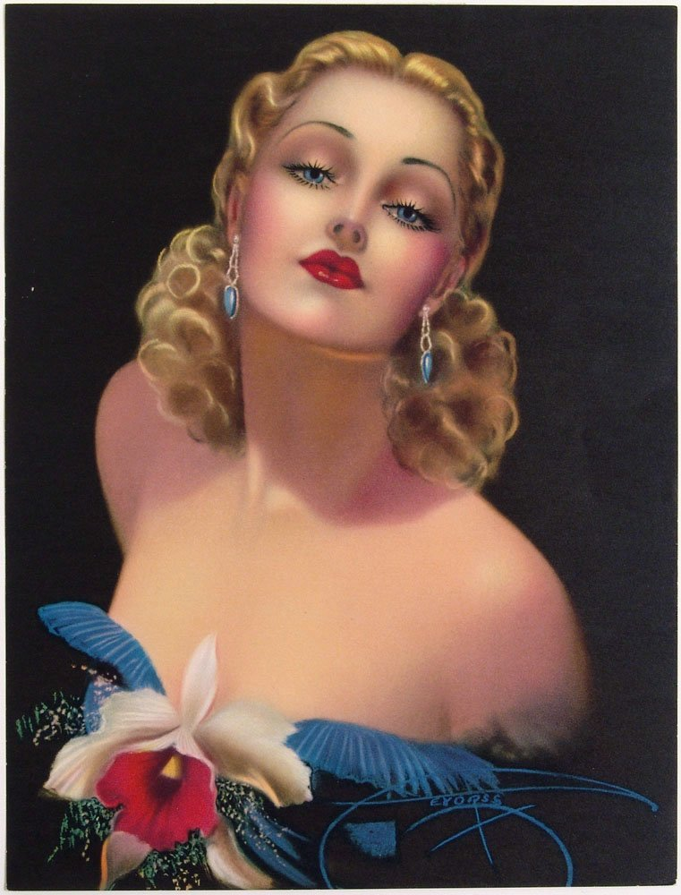 Vintage 1940s Pin-Up DEVORSS Art Deco Blonde