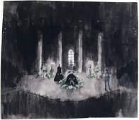 Vintage Original Theatre Set Painting - Funeral Scene