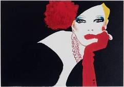 Vintage 1985 Postcard RENE GRUAU Femme Au Gant Rouge