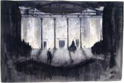 Vtg Orig Theatre Set Painting MOURNING BECOMES ELECTRA