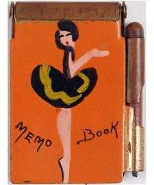 1940s Deco Hand Painted Girlie Mini Memo Book Holder
