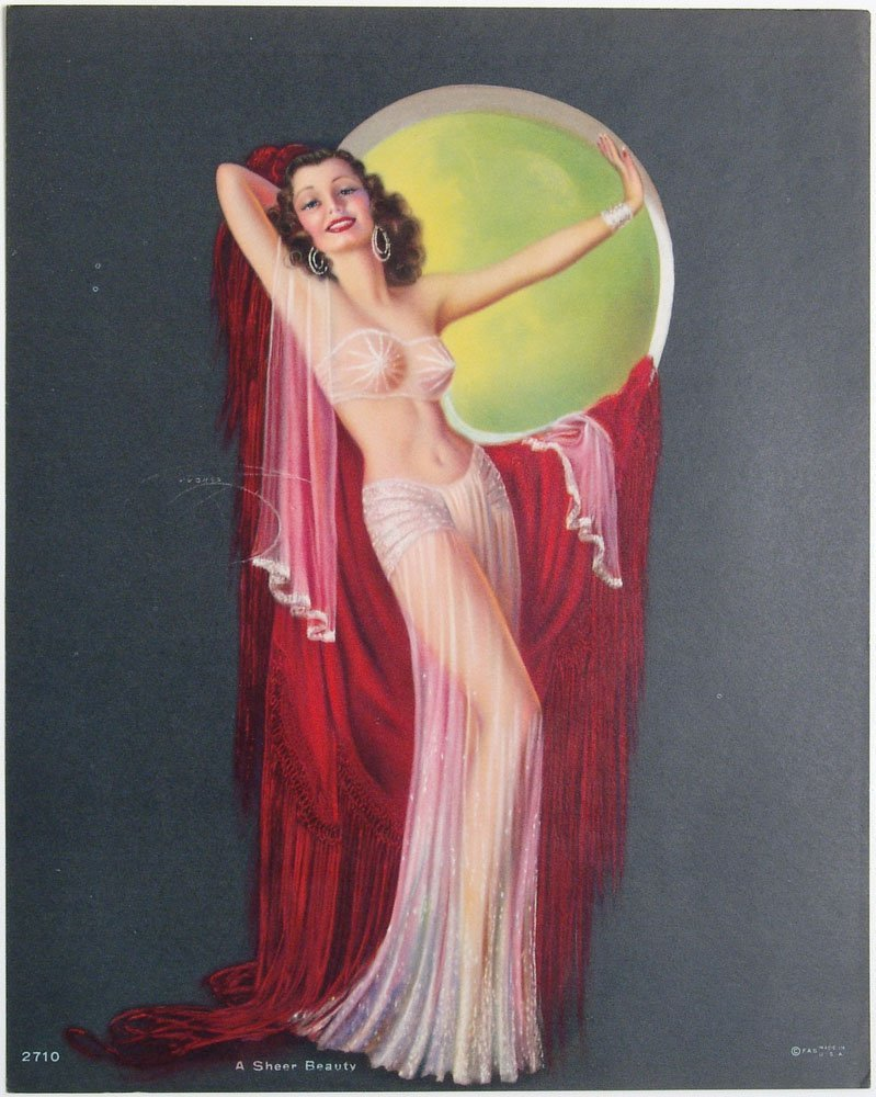 RARE 1943 Risque Pin-Up DEVORSS Exotic Art Deco Dancer