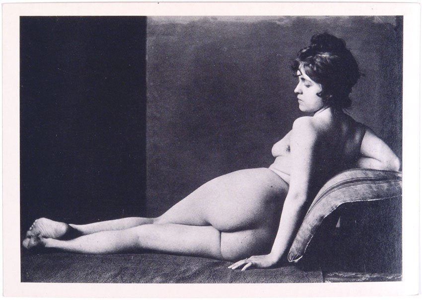 Vintage French Photo Postcard - Reclining Nude Girl