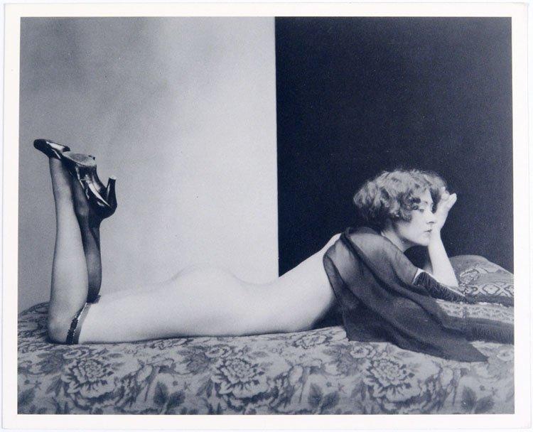 Photo Postcard LOUNGING NUDE FLAPPER Arthur Allen 1930