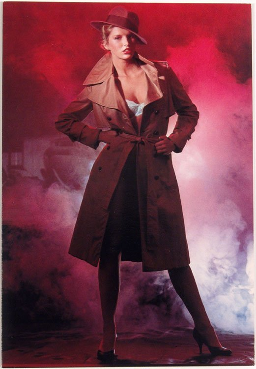 1983 Greeting Card BLONDE IN TRENCH COAT & LINGERIE