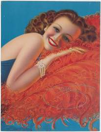 Vtg 1940s Pin-Up DEVORSS Radiant Redhead on Feathers