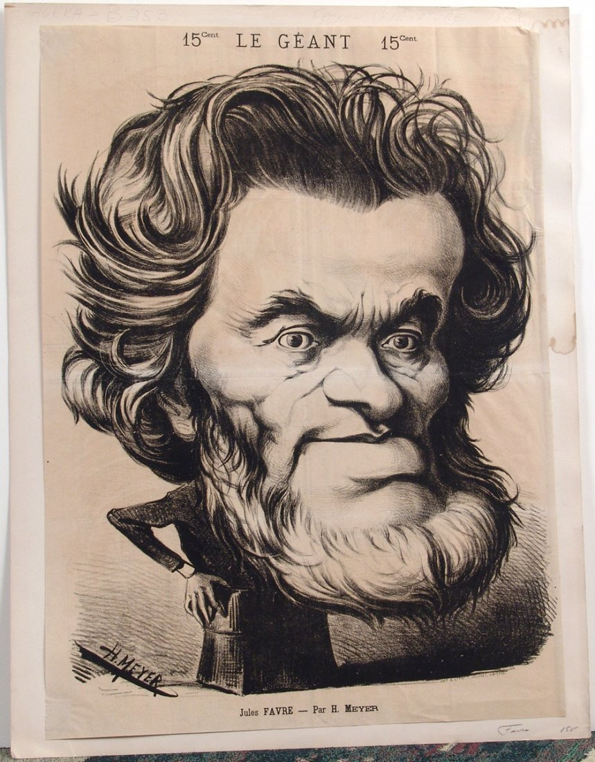 XL Antique 1868 French Caricature JULES FAVRE