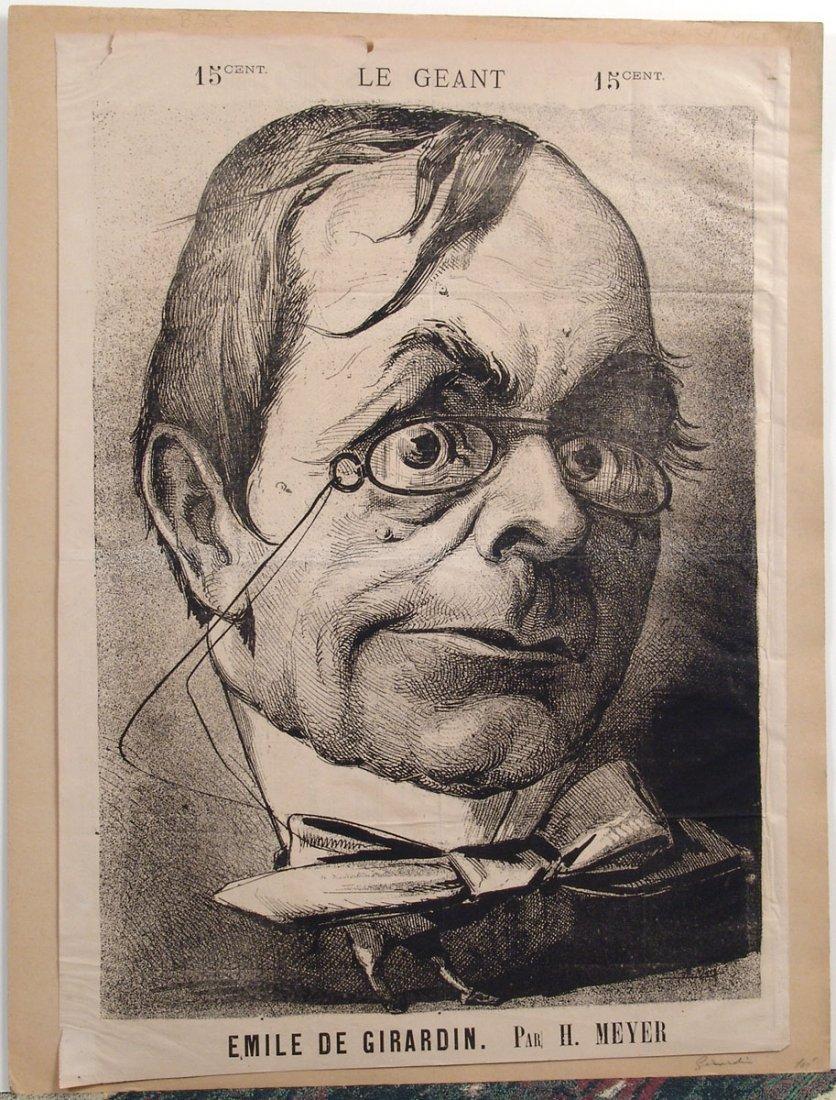 XL Antique 1868 French Caricature EMILE DE GIRARDIN