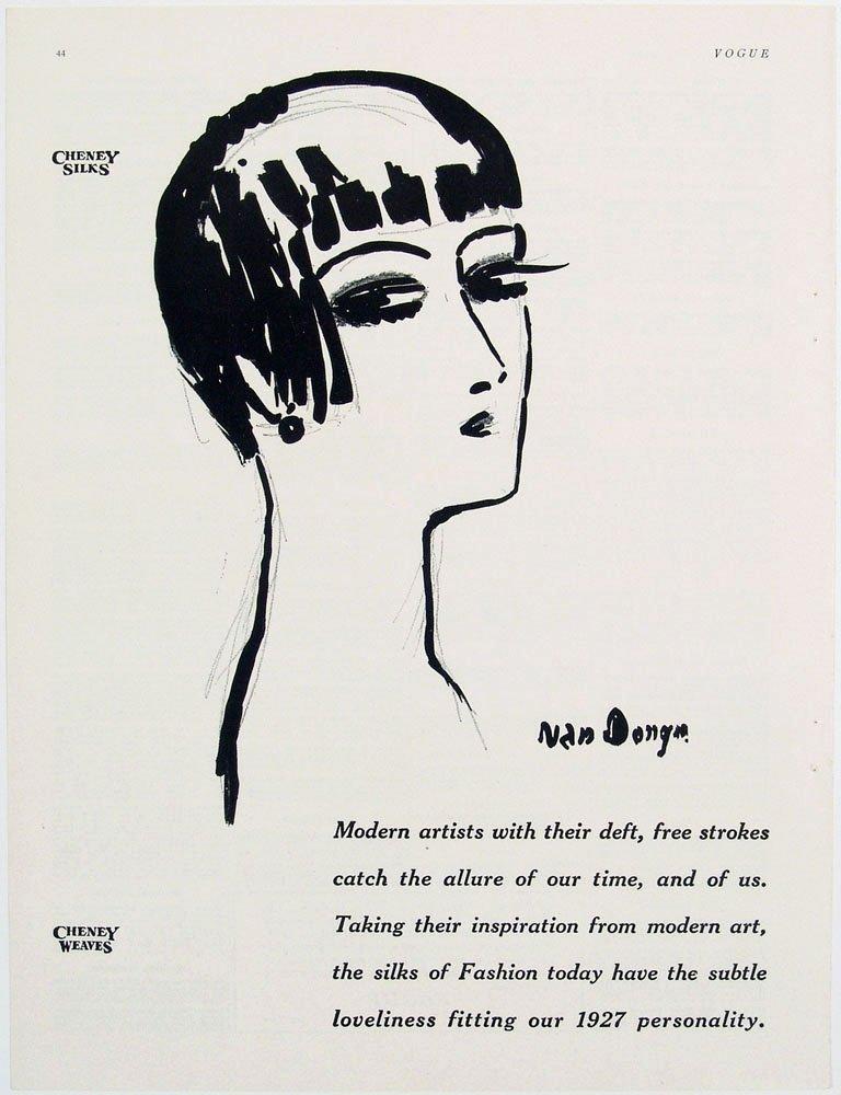 Antique 1926 Vogue Ad - Artwork by KEES VAN DONGEN