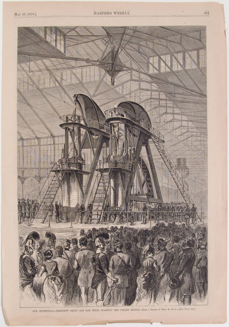 1876 Harper's Engraving PRES. GRANT & CORLISS ENGINE