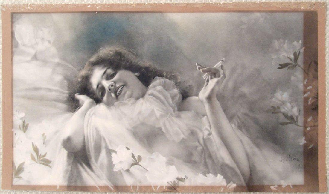 Lg Antique 1900 Print VICTORIAN GIRL HOLDING CIGARETTE