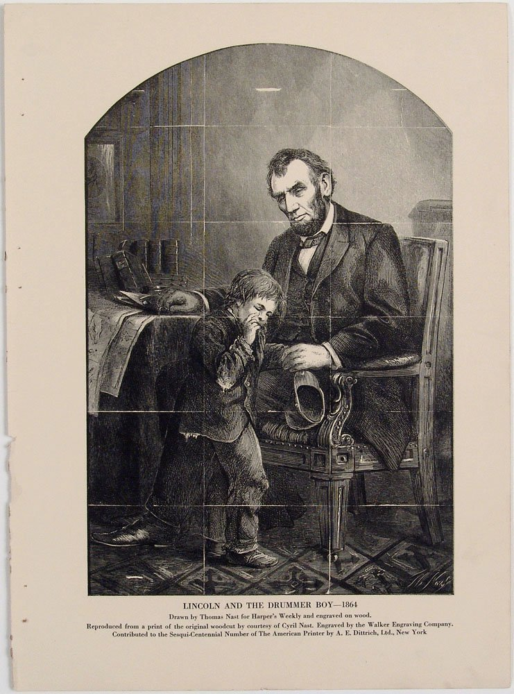 1925 Engraving LINCOLN AND THE DRUMMER BOY Thomas Nast