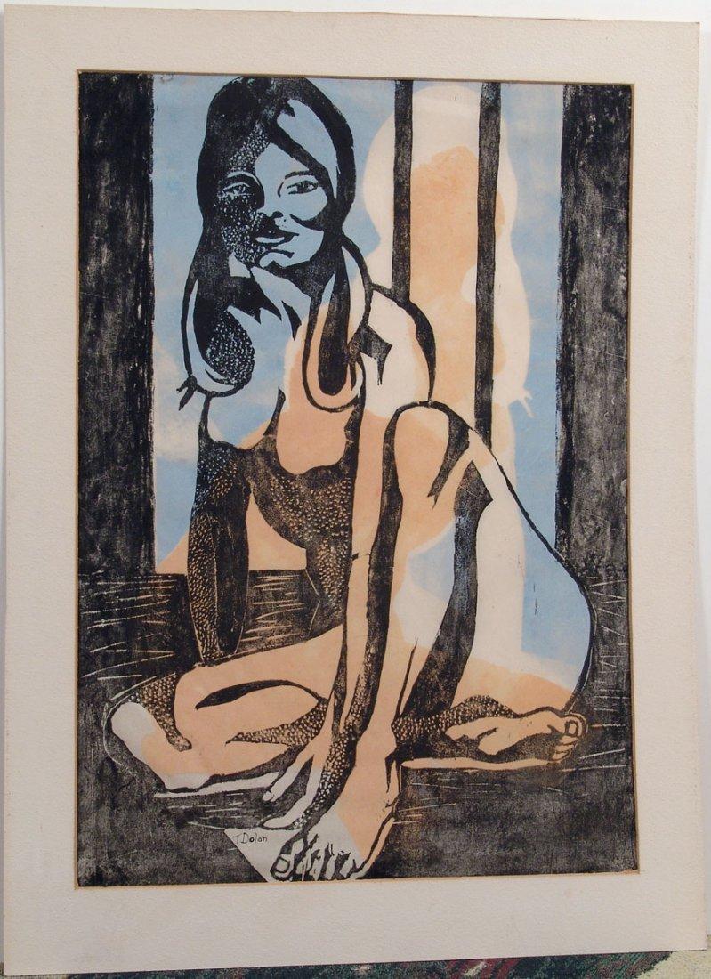 Vtg Large Print MID-CENTURY MODERN POP ART Nude Girl