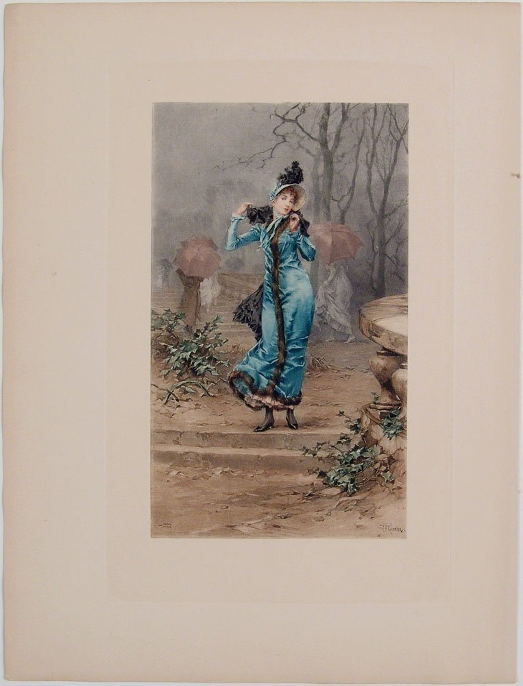 Antique Print VICTORIAN WOMAN IN THE RAIN Kaemmerer