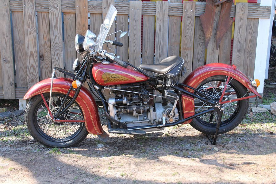 Indian 4 1937  Motorcycle (w) Matching Side Car. 1