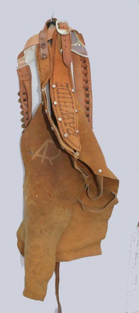 Cowboy Leather Chaps And Ammo Belt