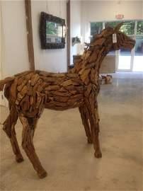 Teak Wood Sculpted Wood Horse