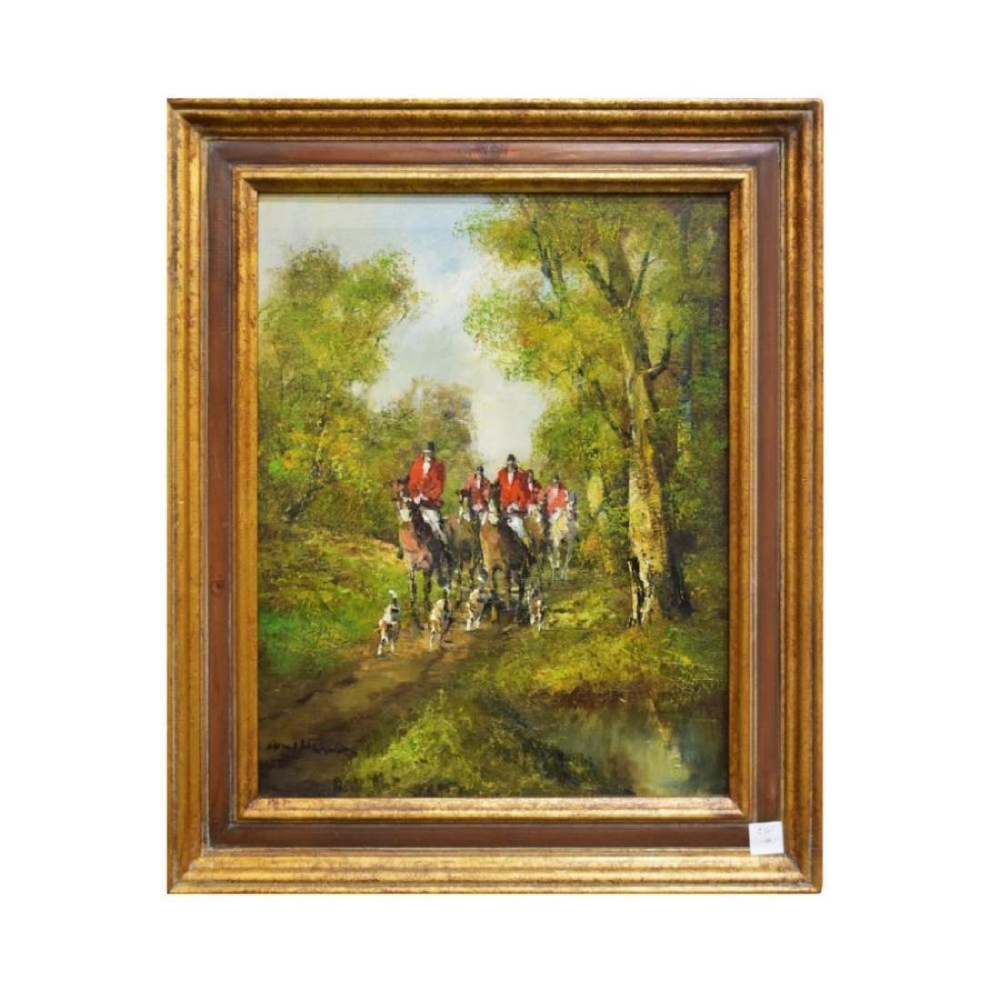 Framed Impressionist Oil on Canvas of Hunt Scene Titled