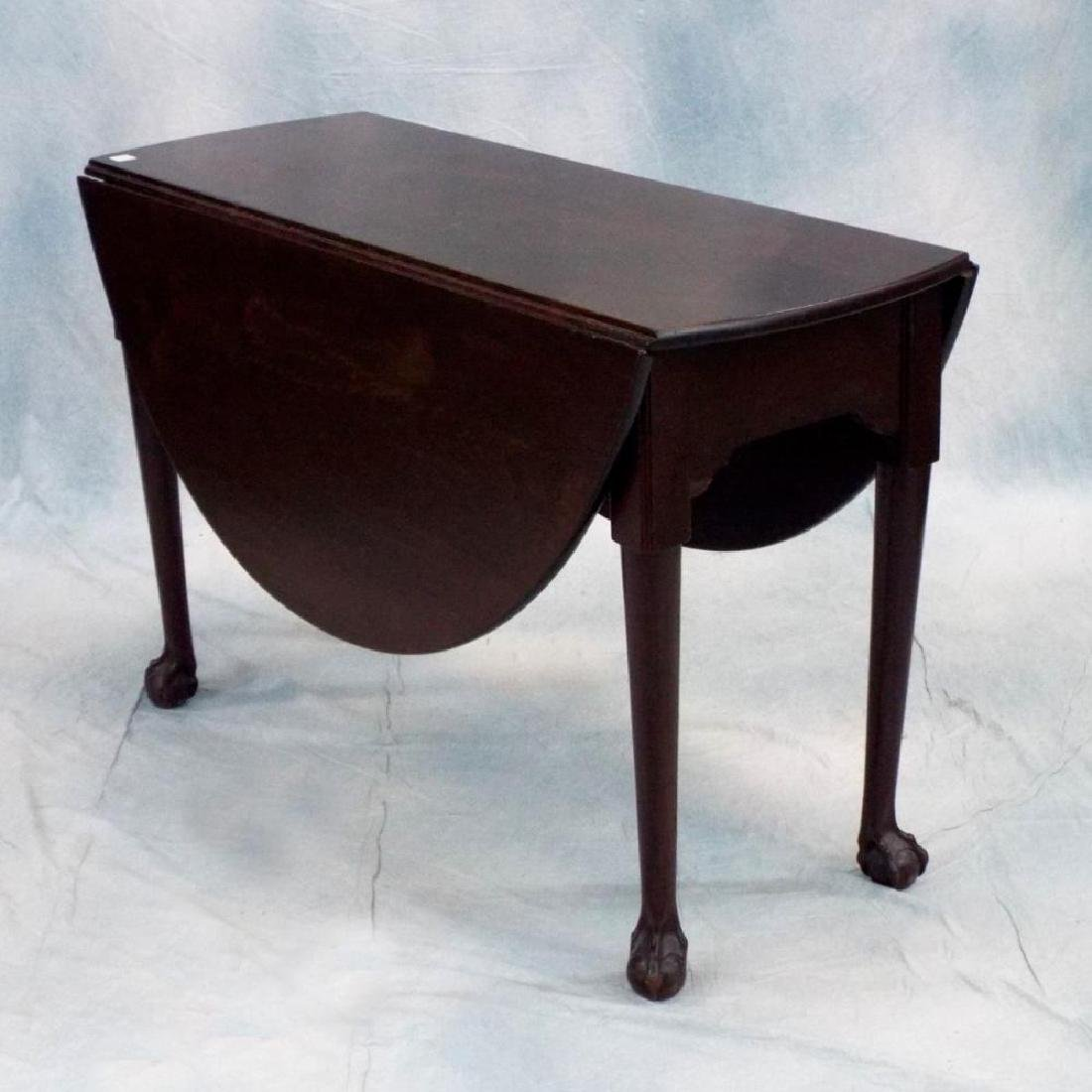 Antique 19th C Solid Mahogany Drop Leaf Table w/Ball &