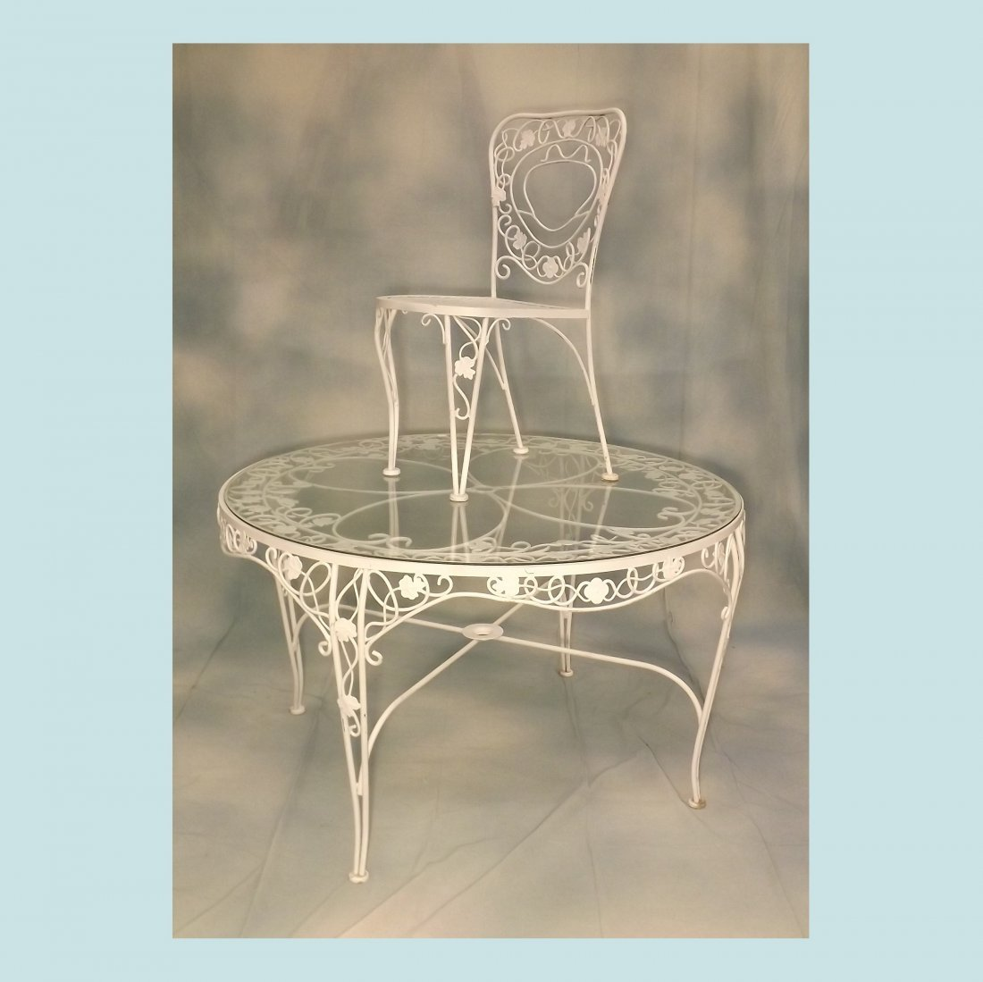 """Iron and Glass Top Table with 4 Chairs - 50"""" Diameter"""