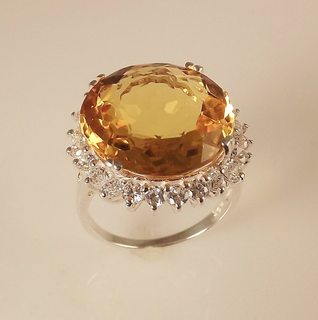 Ring with 12.80ct Natural Citrine and 0.75ctw White