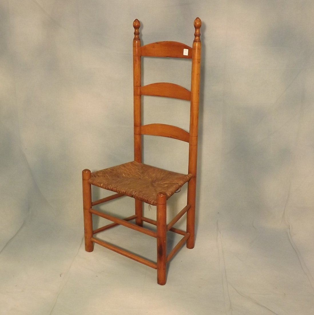 Slat Back Chair with Acorn Finials and Rush Seat -